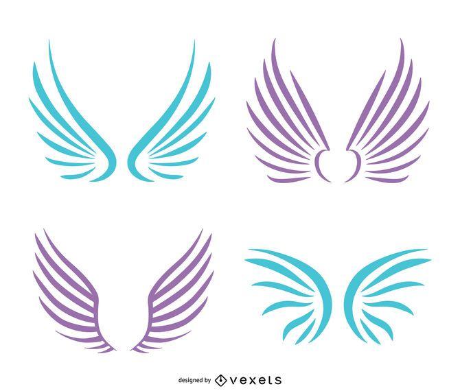 Ilustrações de asas de anjo em tons pastel