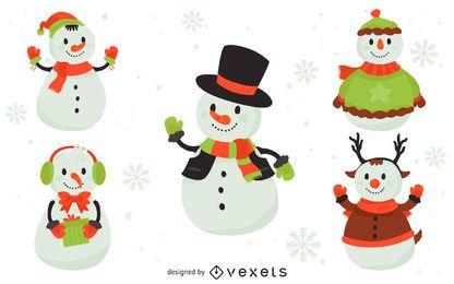 Conjunto de ilustraciones de 5 muñecos de nieve