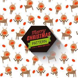 Patrón de reno de Navidad con etiqueta