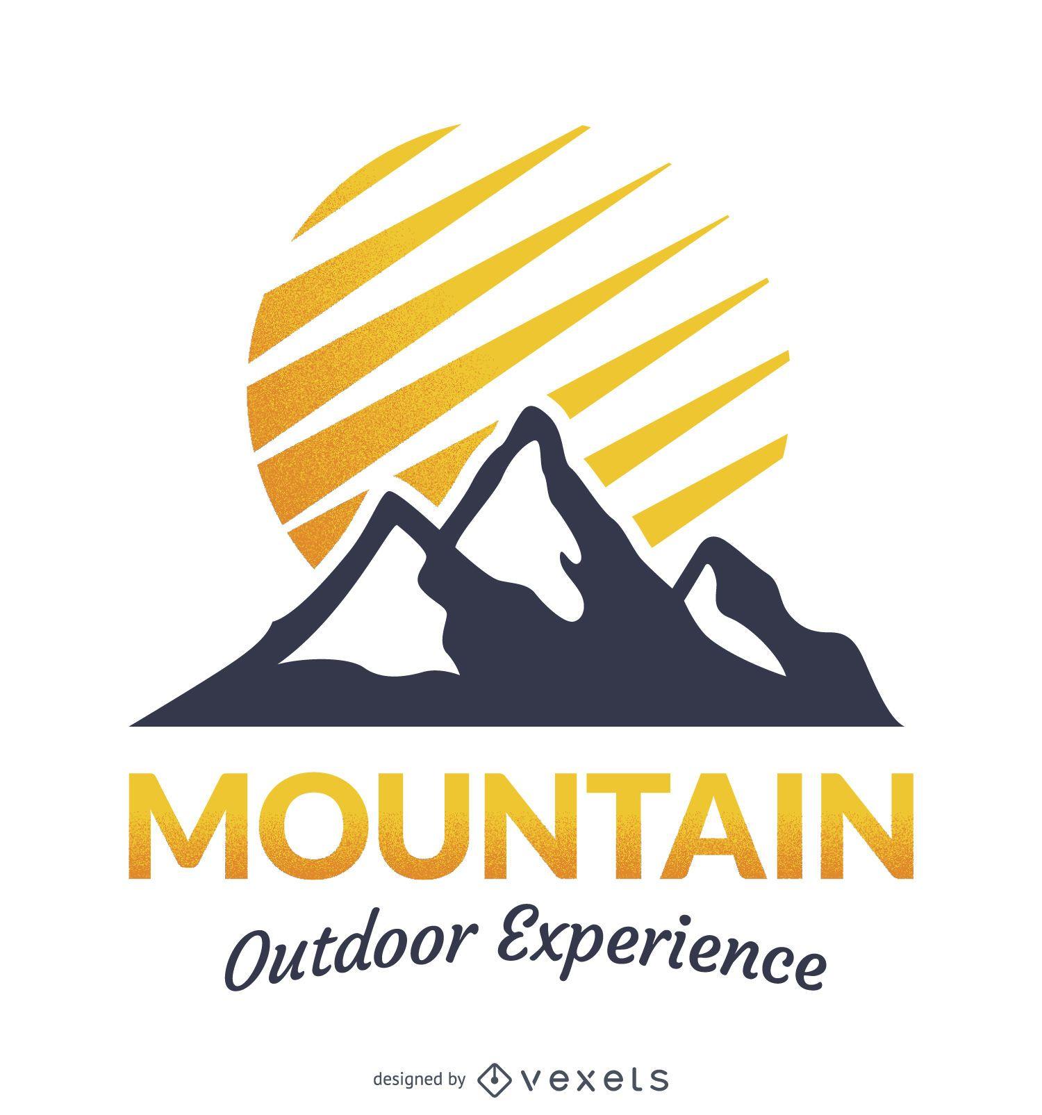 Design do modelo do logotipo do emblema da montanha