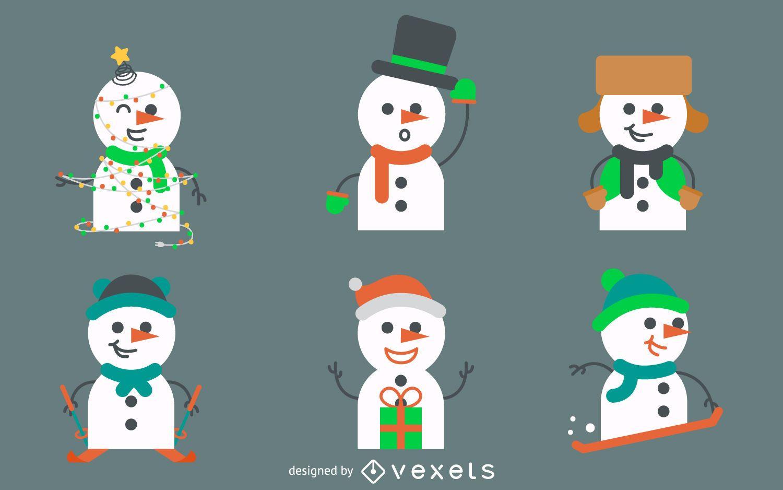 Colección de ilustraciones de muñecos de nieve planos