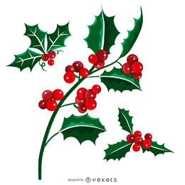 Illustrated Christmas mistletoe set
