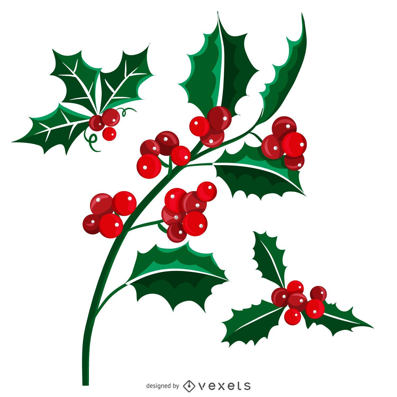 Conjunto ilustrado de muérdago navideño