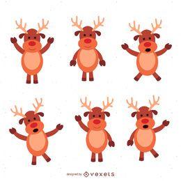 6 conjunto de ilustración de ciervos navideños