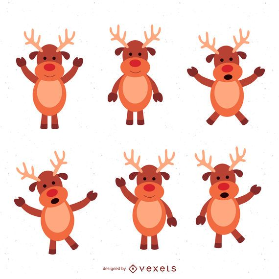 6 Christmas deer illustration set