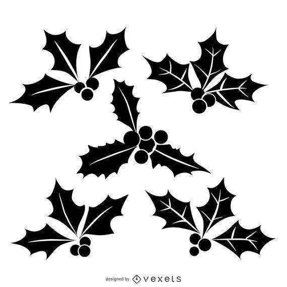Conjunto aislado de la silueta del muérdago de la Navidad