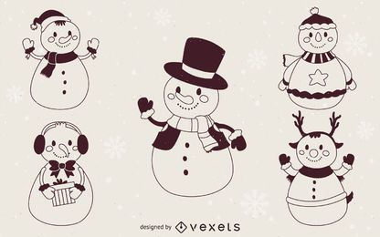 Christmas snowmen illustration outlines