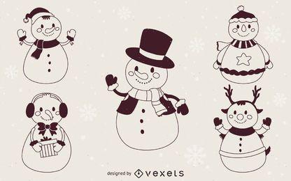 Contornos de ilustração de bonecos de neve de Natal
