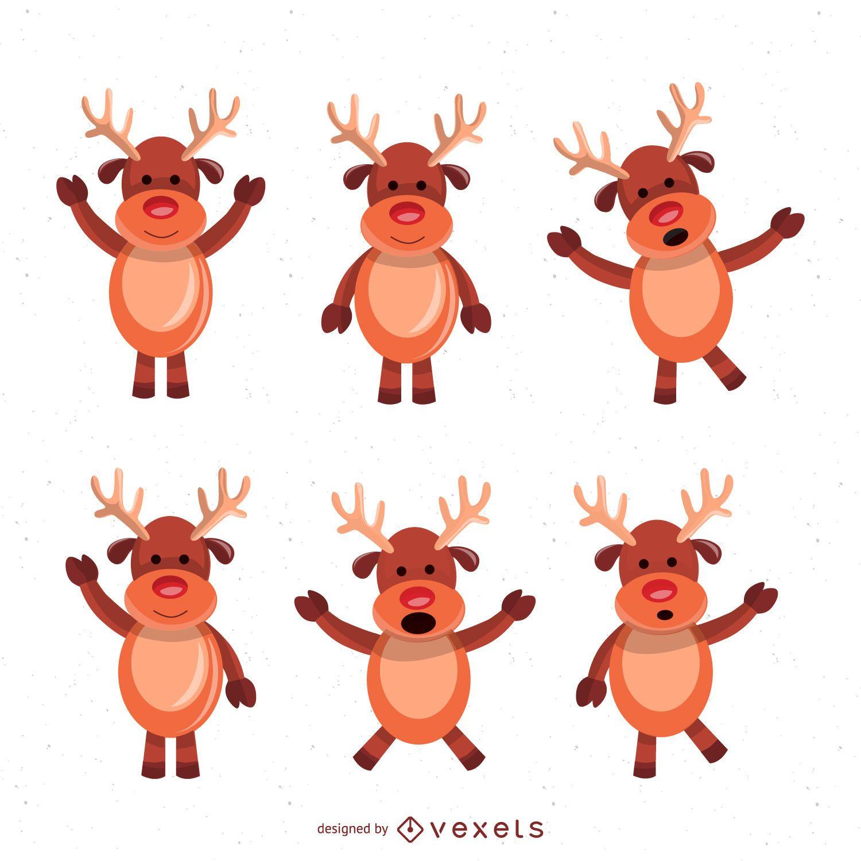 Conjunto de ilustraci?n de dibujos animados de ciervos de Navidad