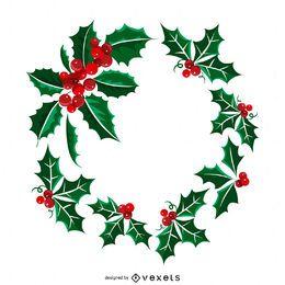 Ilustração de grinalda de azevinho de Natal