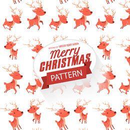 Patrón de reno de Navidad plano