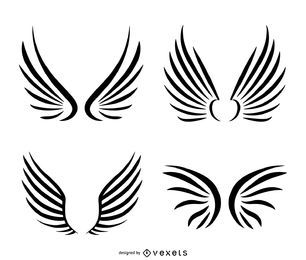 Isolated wings line art set