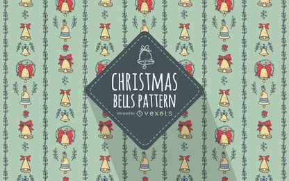 Dibujado a mano patrón de campanas de Navidad