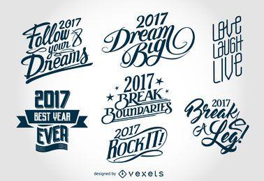 2017 Neujahr Schriftzug Etiketten