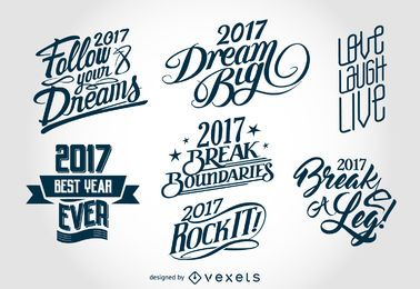 2017 New Year lettering labels