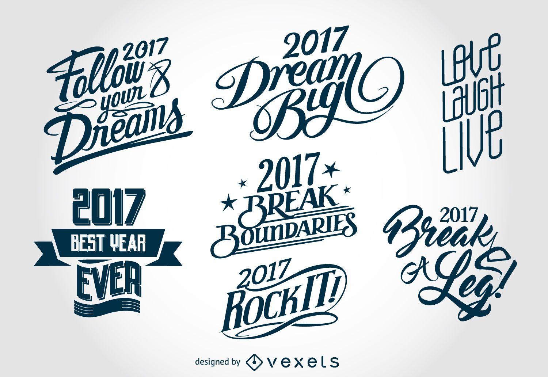 Etiquetas de letras de año nuevo 2017