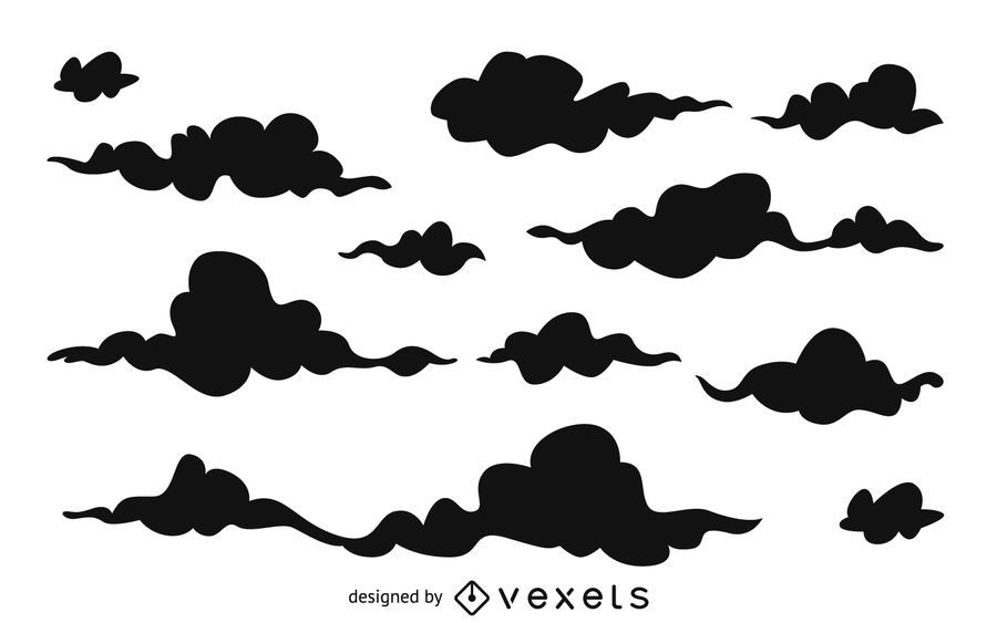 Cartoon cloud silhouettes background