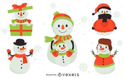 Conjunto de 5 ilustrações de bonecos de neve plana