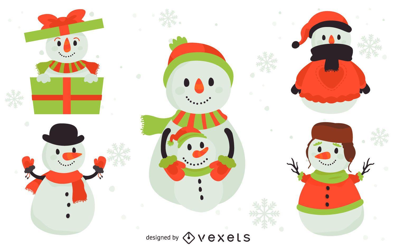 Conjunto de 5 ilustraciones de muñecos de nieve planos