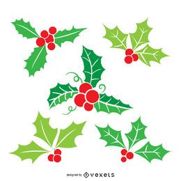 Conjunto de ilustración plana de muérdago de Navidad