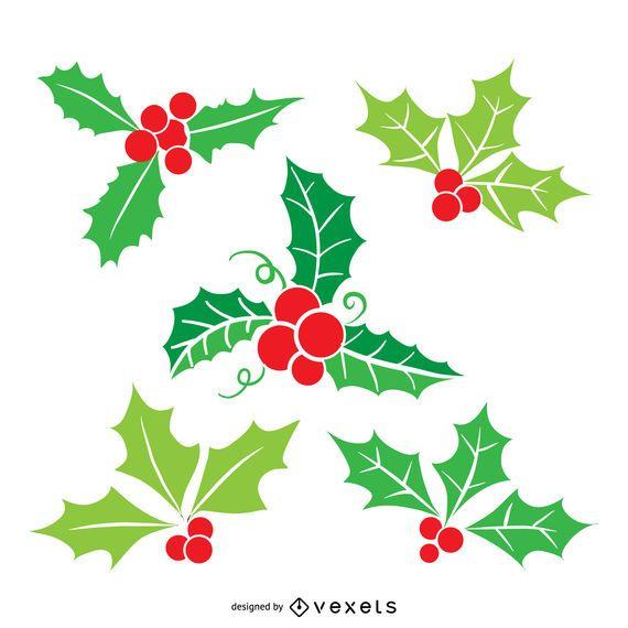 Flat Christmas visco ilustração set