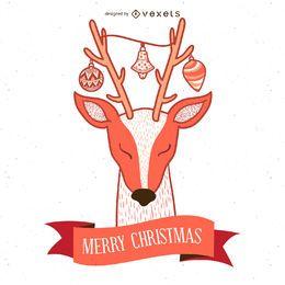 Ilustração de cartão de veado de Natal