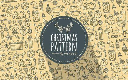 Christmas elements doodles pattern