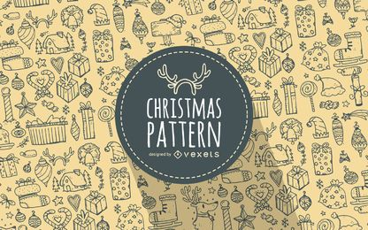 Elementos de Natal doodles padrão