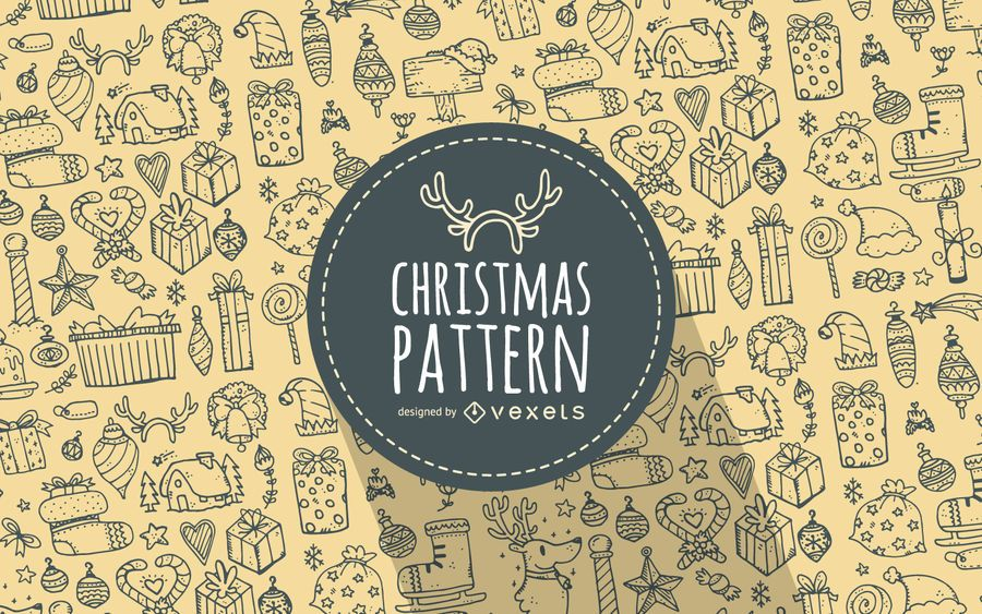 Christmas elements doodles pattern