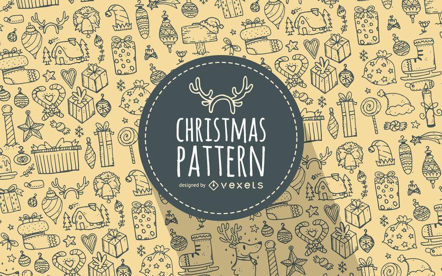 Navidad elementos patrón de garabatos