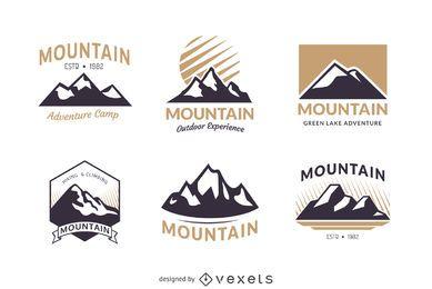 Montanha emblema conjunto modelo de logotipo