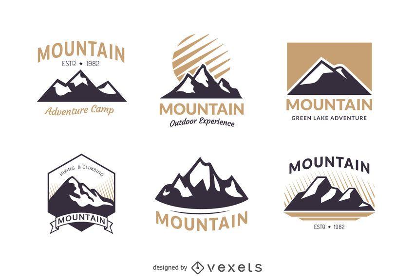 Conjunto de modelo de logotipo de distintivo de montanha