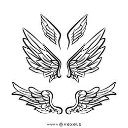 3 alas de ángel de arte lineal
