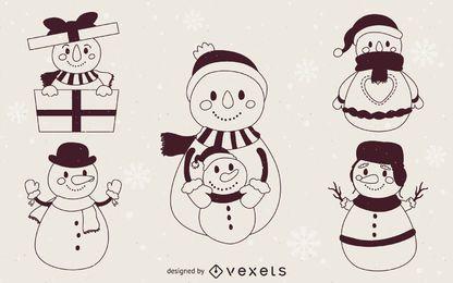 Contornos de ilustração de bonecos de neve