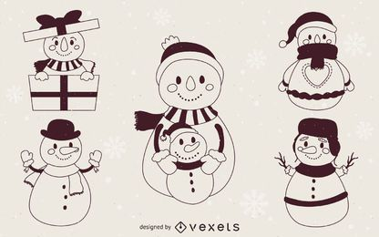 Snowmen illustration outlines