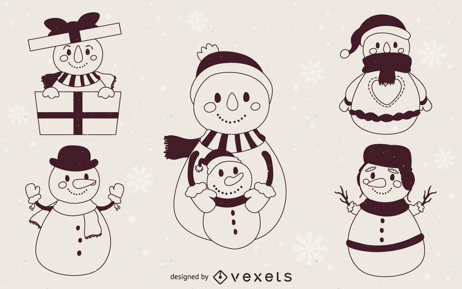 Esbozos de ilustración de muñecos de nieve