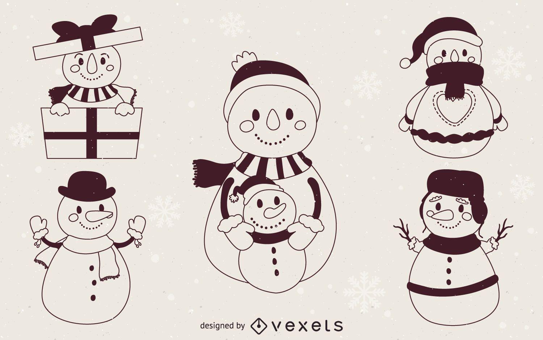 Contornos de ilustración de muñecos de nieve