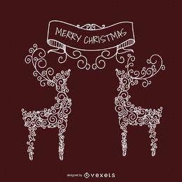 Ilustración de Navidad de remolinos de ciervo