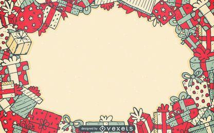 Fondo de marco de regalos de navidad