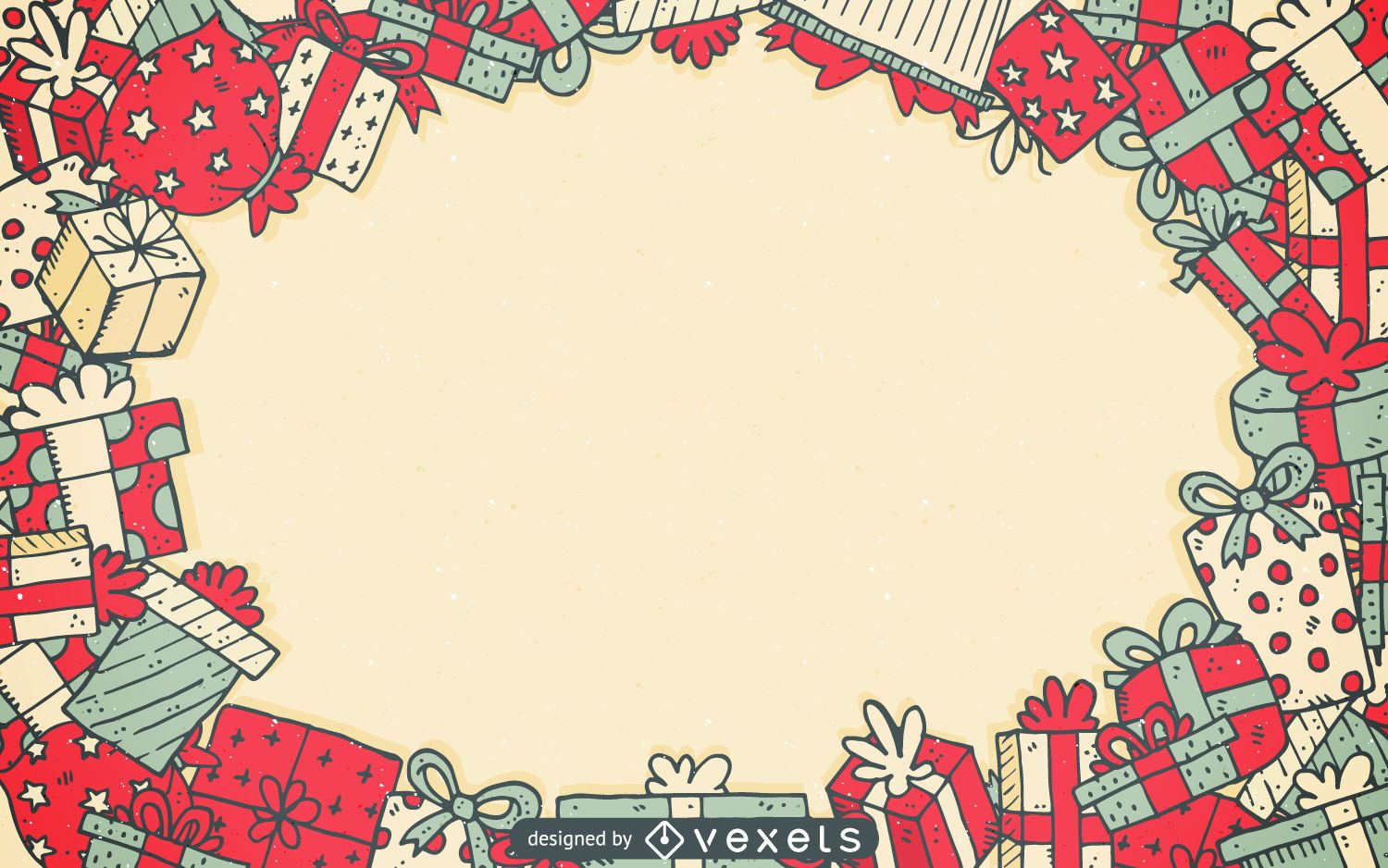 Christmas gifts frame background