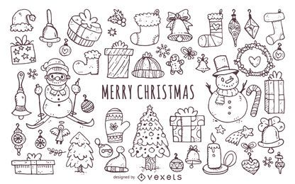 Christmas elements doodles icon set
