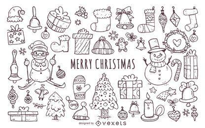 Weihnachtselemente kritzelt Ikonensatz