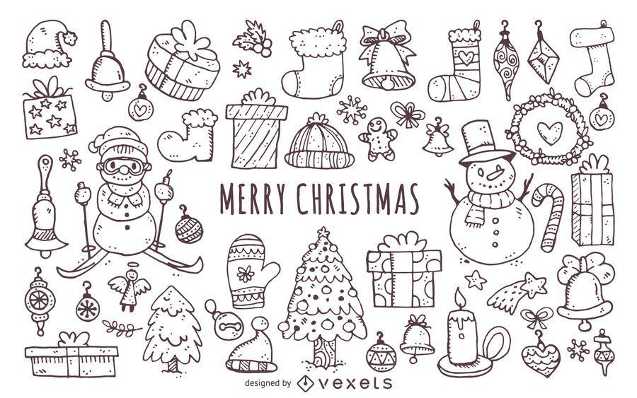 Christmas elements doodles icon set