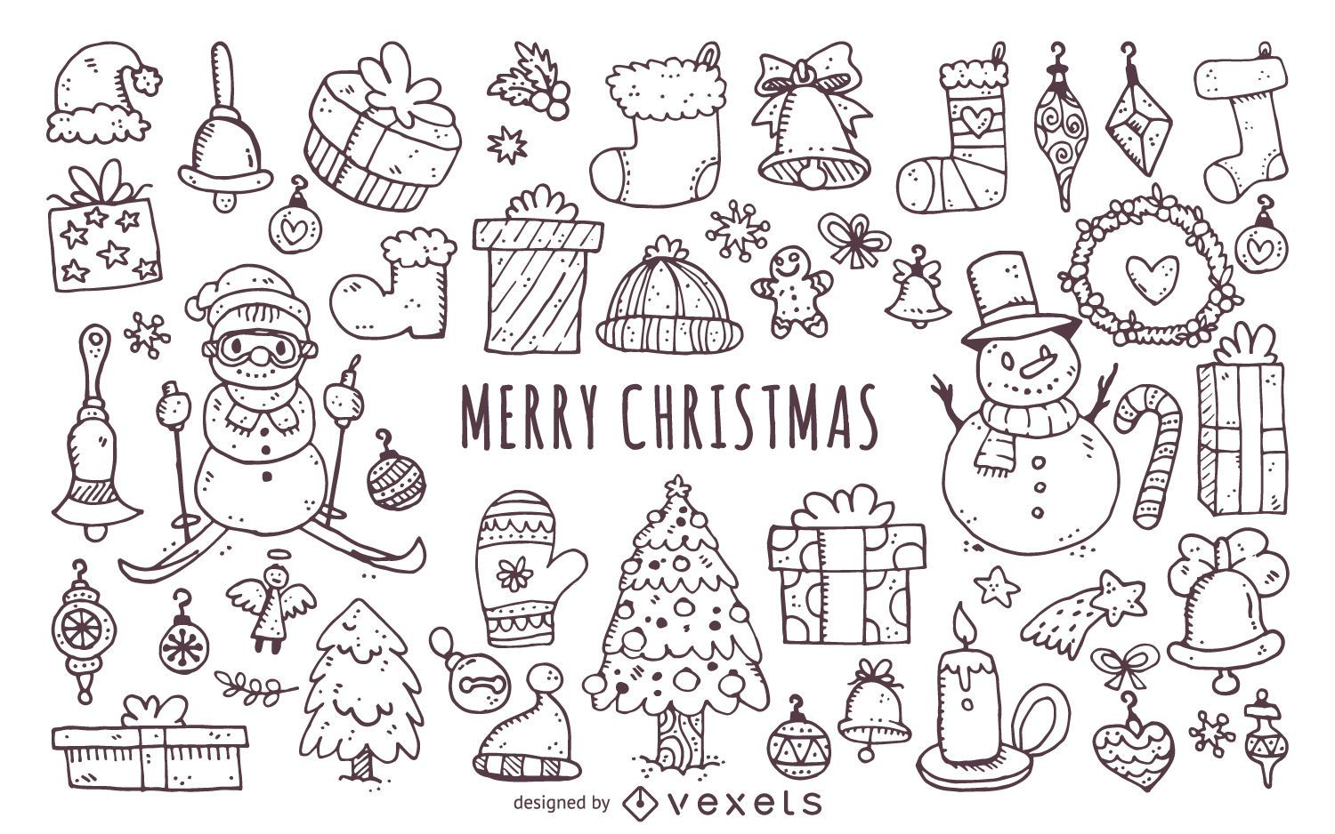 Christmas Elements Doodles Icon Set Vector Download