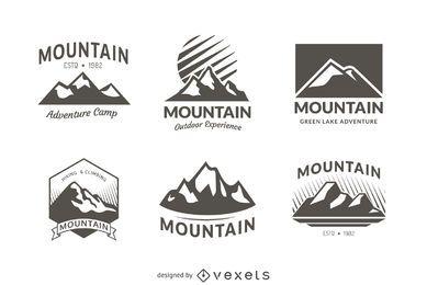 6 plantillas de logotipos de insignias de montaña