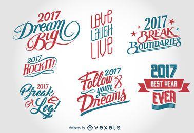Conjunto de distintivo de rótulo de ano novo de 2017