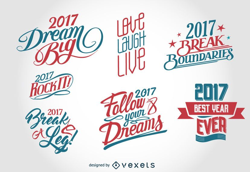 2017 New Year label badge set
