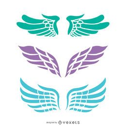 3 Angel wings illustrations set