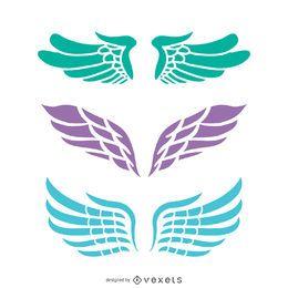 Conjunto de 3 ilustrações de asas de anjo