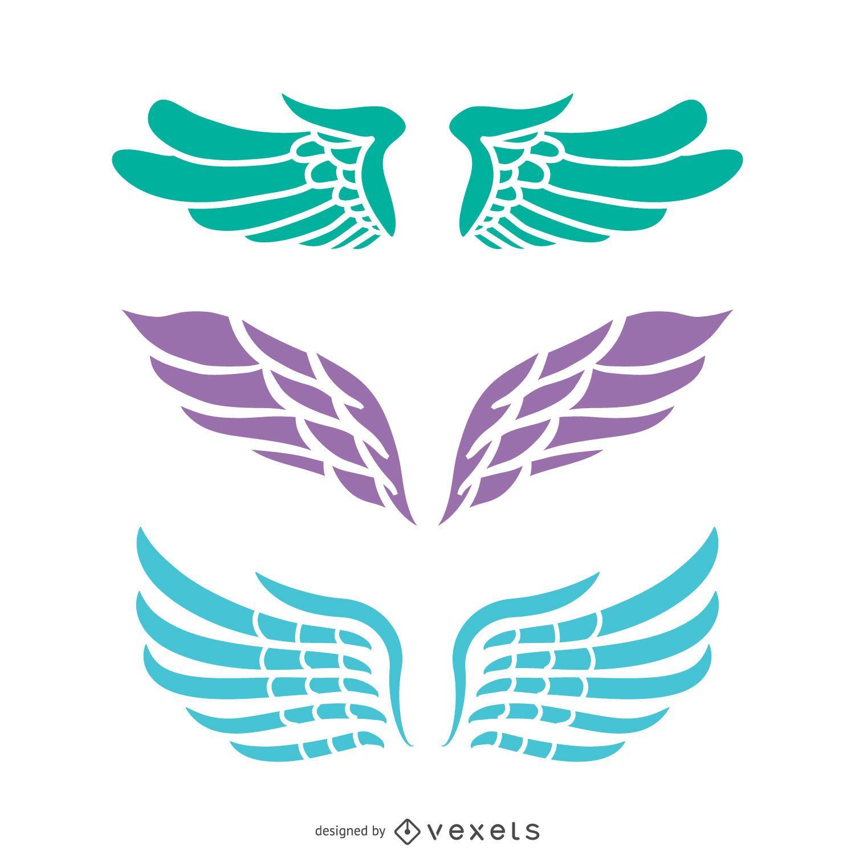 3 Angel wings illustrations set